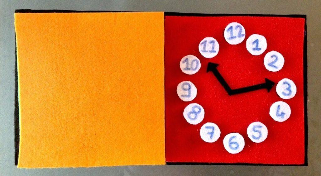 quiet book horloge