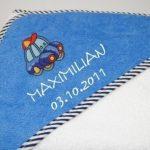 Cape-de-bain-bleue-blanche-100x100cm-personnalis-Serviette-pour-bb-et-enfants-avec-nom-et-motif-0