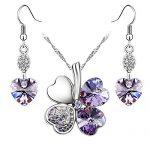 Le-Premium-Boucles-doreilles-cristal-Swarovski-Pendentif-coeur-trfle-mis-en-violette-0