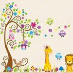 Wall-Decal-Stickers-muraux-pour-chambre-de-bb--motifs-jungle-avec-lion-girafe-cureuil-chouette-et-arbre-color-0