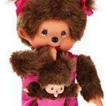 Monchhichi-Kiki-maman-avec-enfant-Rose-20-cm-0