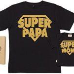 SR-Super-Papa-Super-Mme-Ensemble-de-T-shirts-pour-Pre-et-bb-0