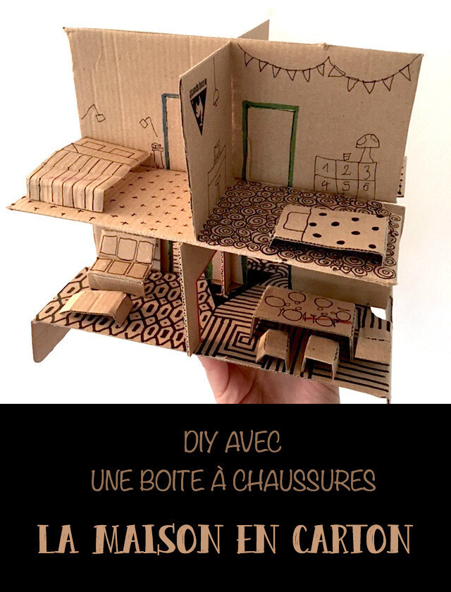 diy la maison en carton version boite chaussures. Black Bedroom Furniture Sets. Home Design Ideas