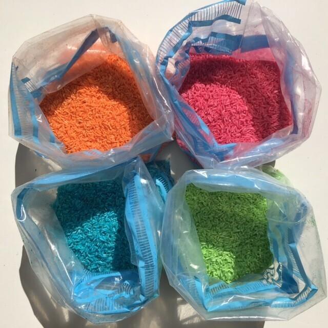 riz coloré, plusieurs couleurs