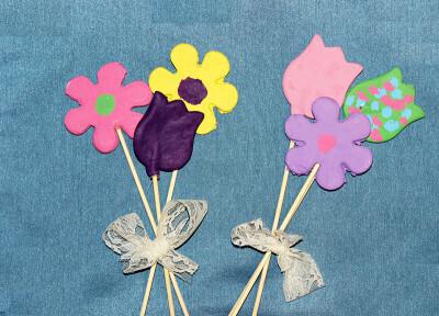 bouquet de fleurs en pâte à sel