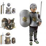 Per-4-pices-Armure-Chevalier-for-3-8-ans-Enfant-Dguisement-chevalier-en-armure-garon-Casque-Bouclier-Cuirasse-quipement-de-Cavalier-Moyen-ge-Guerrier-Armure-de-combat-Soldat-Accessoires-0