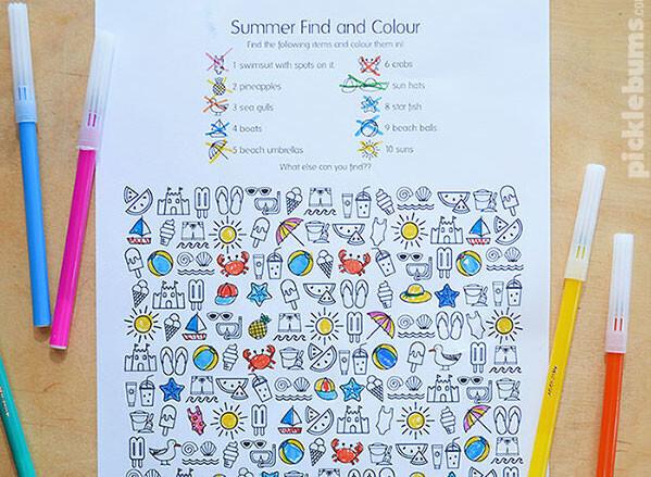 Coloriage Cherche et Trouve de l'été
