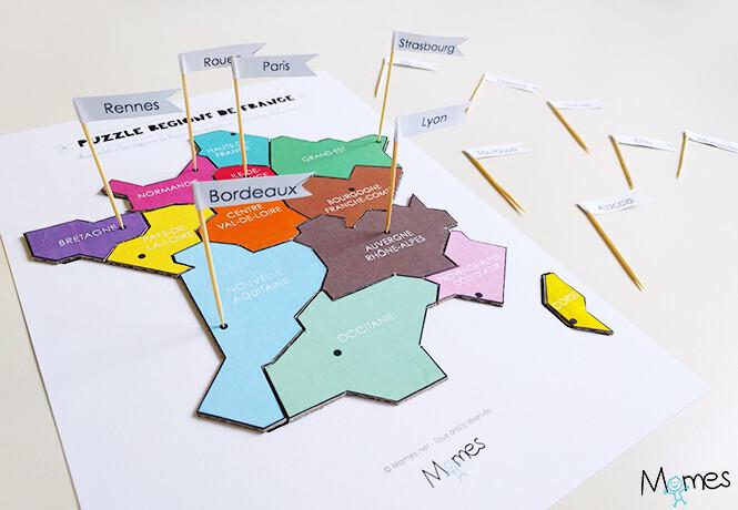 Puzzle régions de France à imprimer