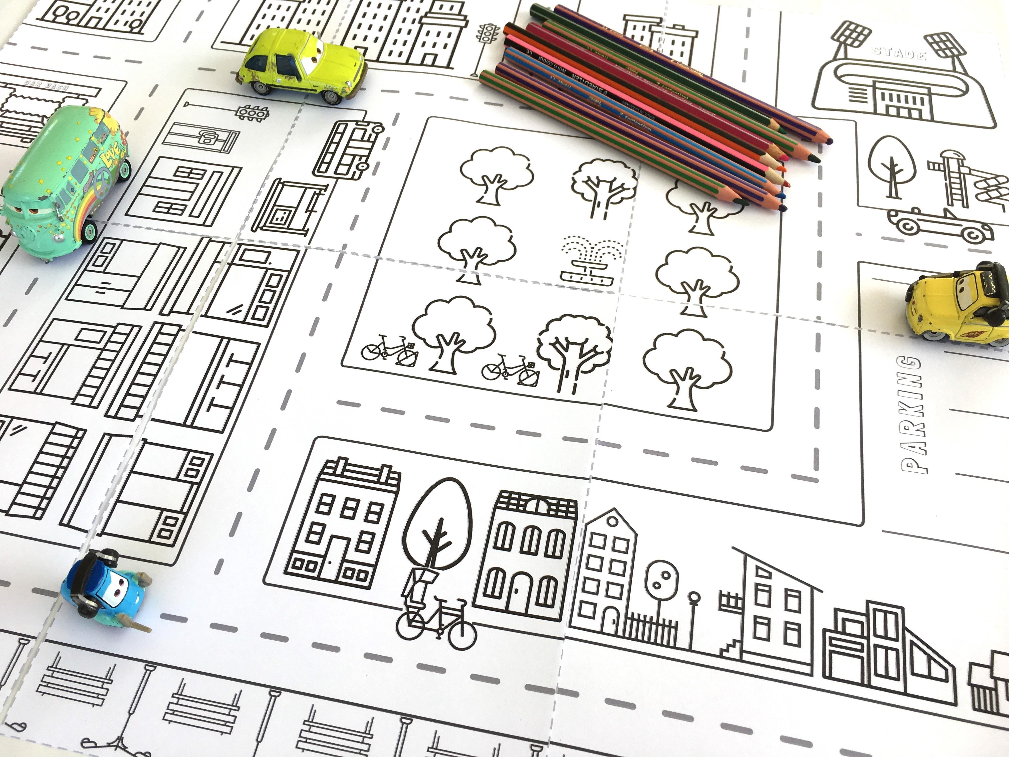 ta ville colorier un jeu de route imprimer. Black Bedroom Furniture Sets. Home Design Ideas