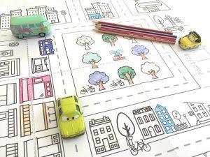 ville pour jouer à colorier