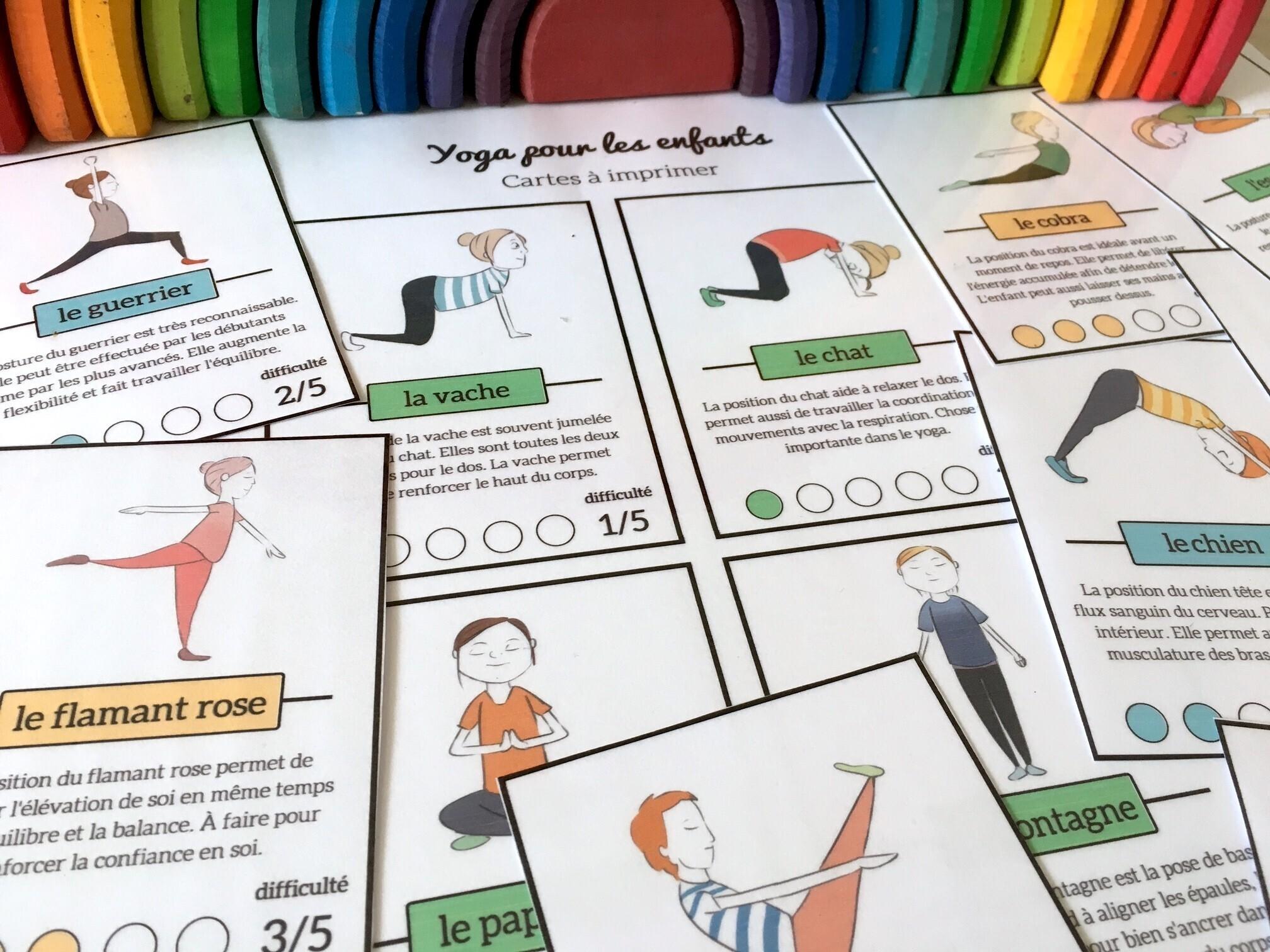 Yoga pour les enfants  cartes à télécharger gratuitement  3e0c1630bba