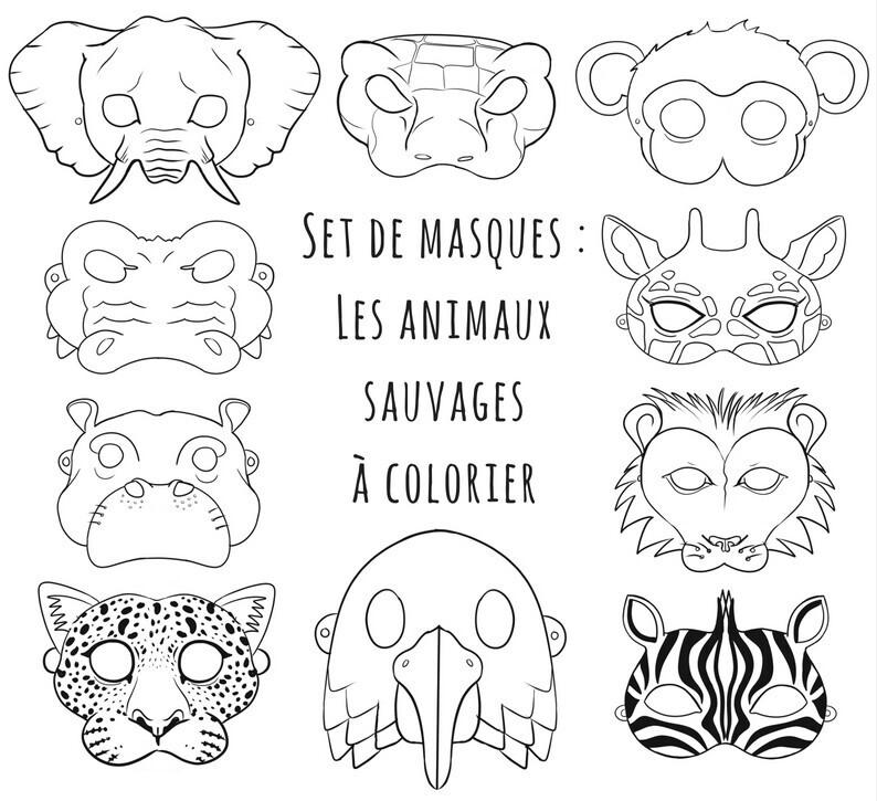 Masques animaux sauvages un jour un jeu - Coloriage animaux sauvages ...