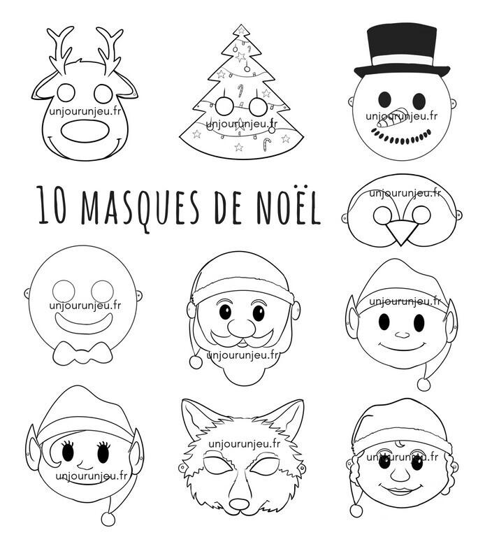 Masques de Noël à télécharger