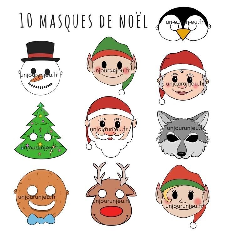 masques de Noël à imprimer en couleurs