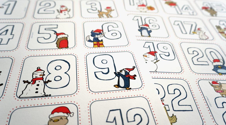 Étiquettes de calendrier de l'Avent à imprimer