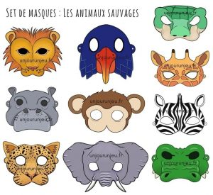 Miniatures masques animaux sauvages