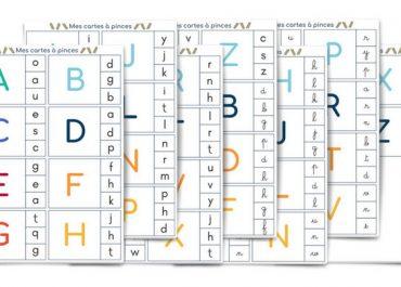 Cartes à pince : correspondance entre les alphabets