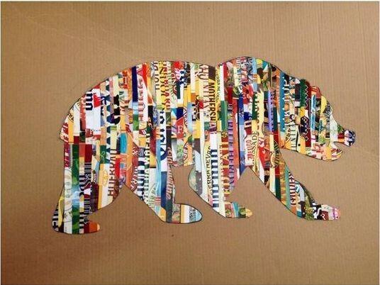 Silhouette ours avec bandes de papier