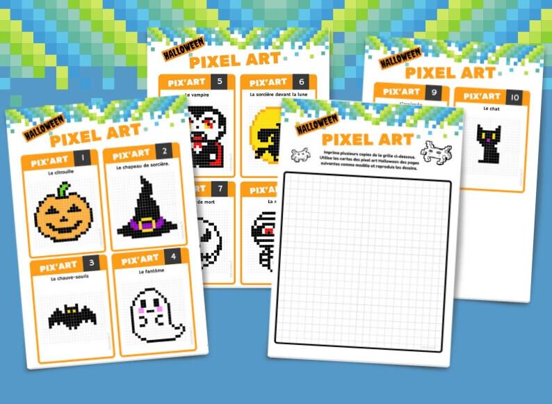 10 Fiches De Pixel Art Dhalloween à Télécharger