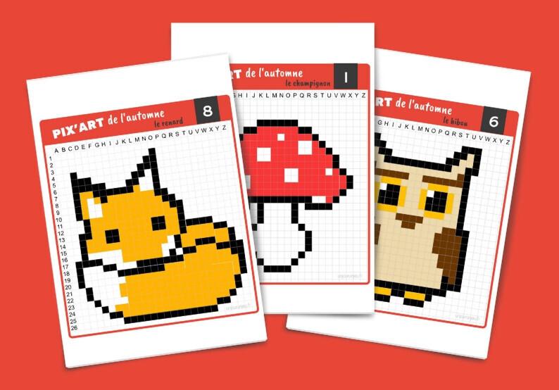 Pixel Art De L Automne Fiches A Imprimer Gratuitement Un Jour Un Jeu