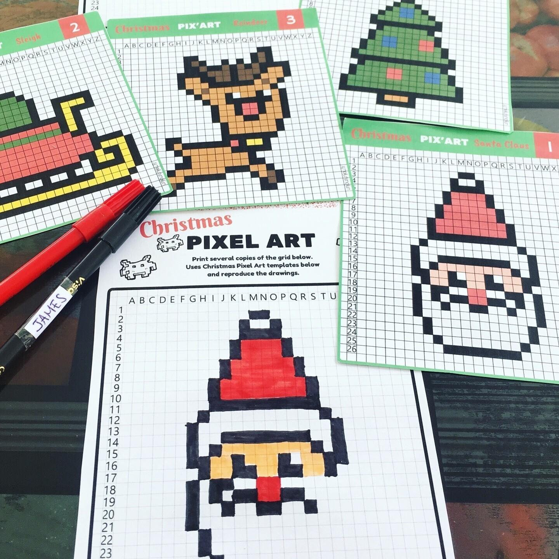 Pixel Art De Noël 12 Modèles à Imprimer Gratuitement Un