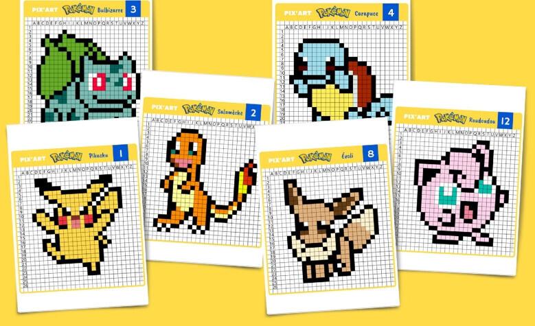 Pixel Art Pokemon Pikachu Salamèche Bulbizarre Etc à Imprimer