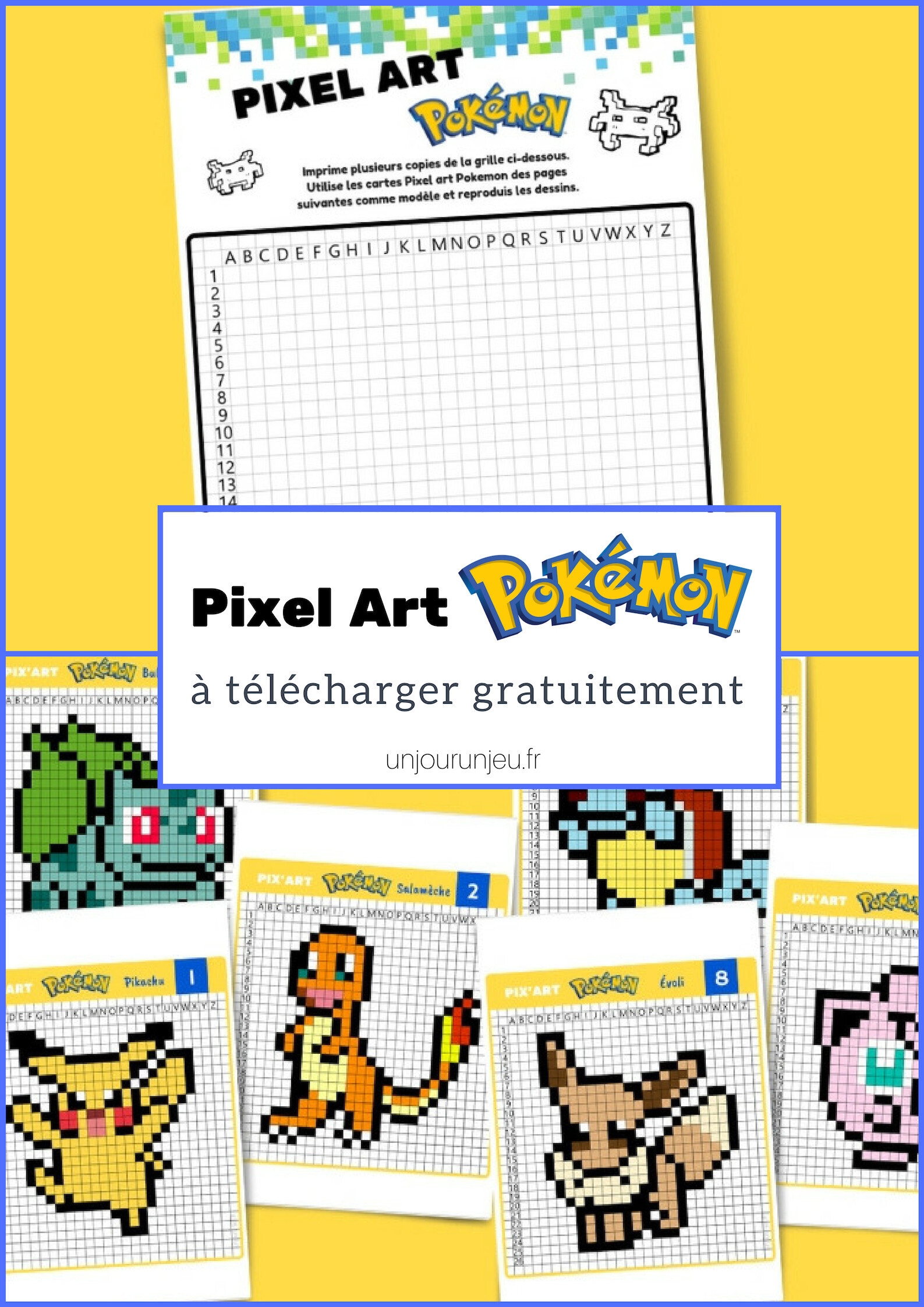 Pixel Art Pokemon Pikachu Salamèche Bulbizarre Etc à