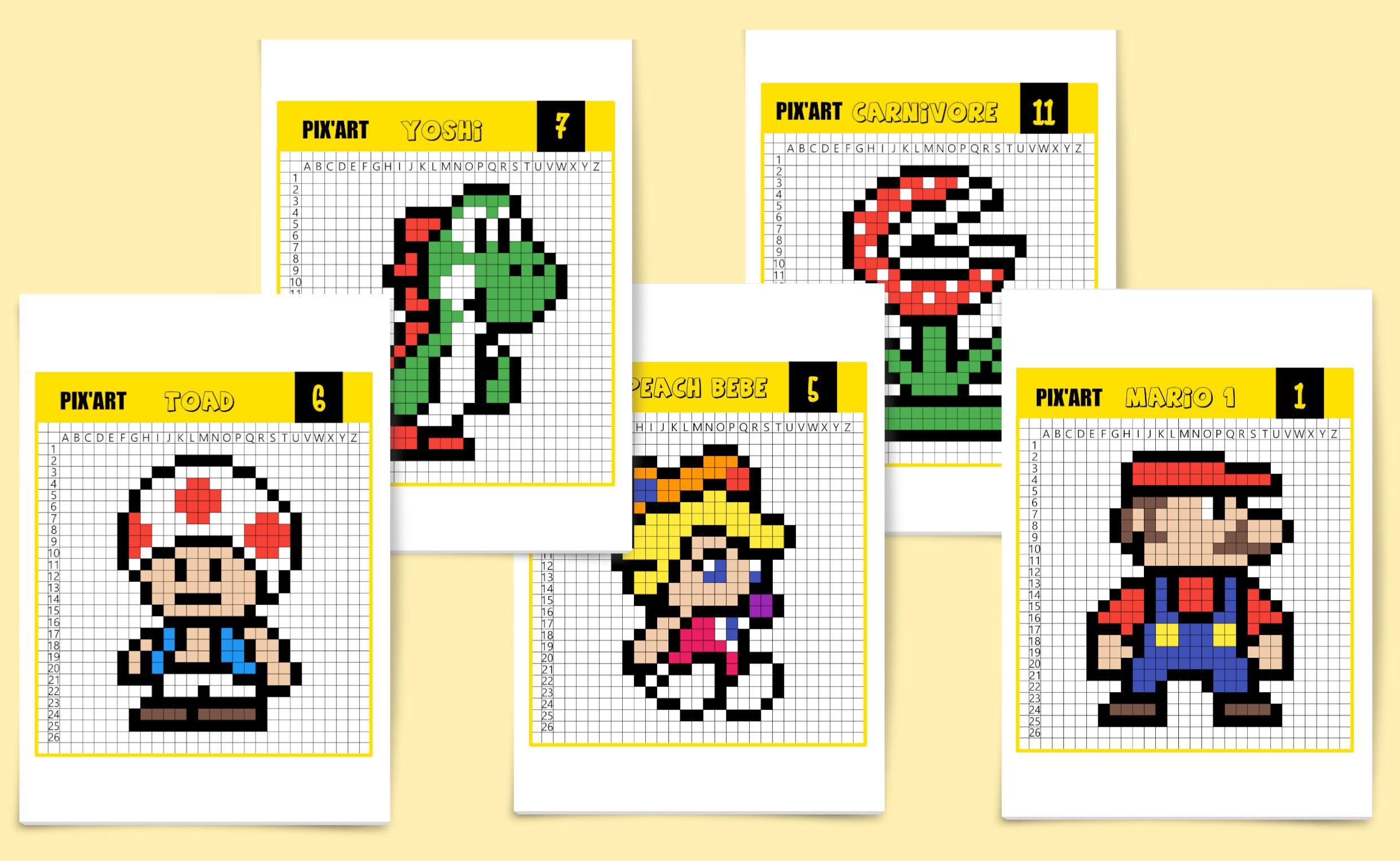 Pixel Art Toad Mario
