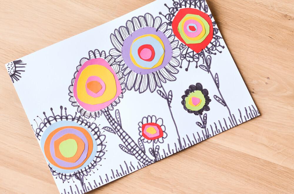 Activité manuelle Activité créative Collage Fleurs colorées en collage Activité sur le thème du printemps.