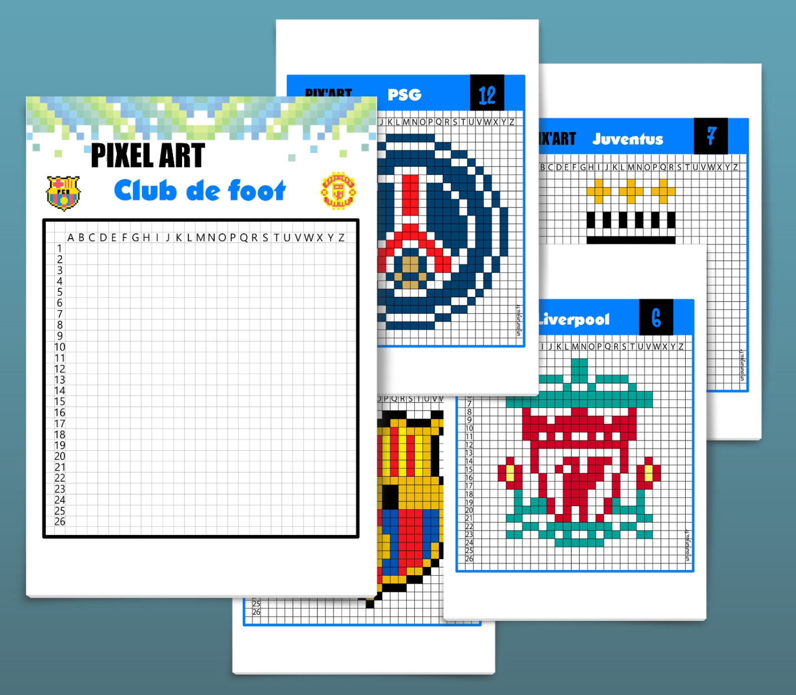 Pixel Art Football 12 Logos De Club à Télécharger