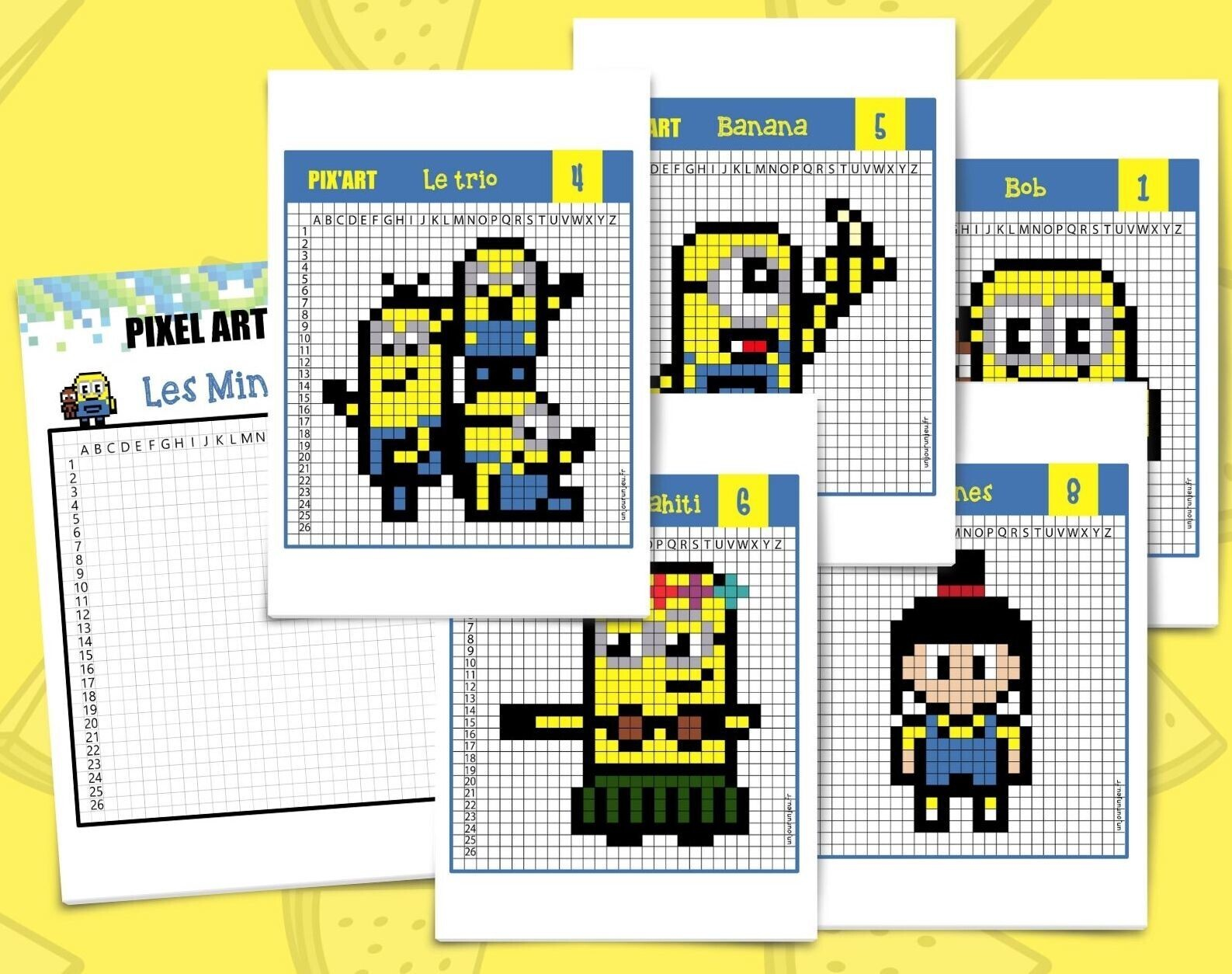 Pixel Art Minions 12 Modeles A Telecharger Gratuitement
