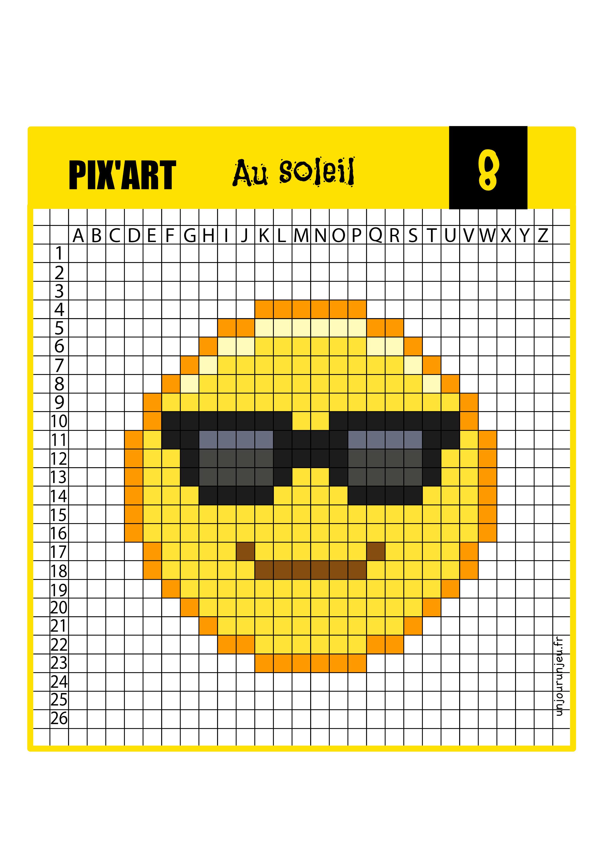 Pixel art smiley lunettes de soleil
