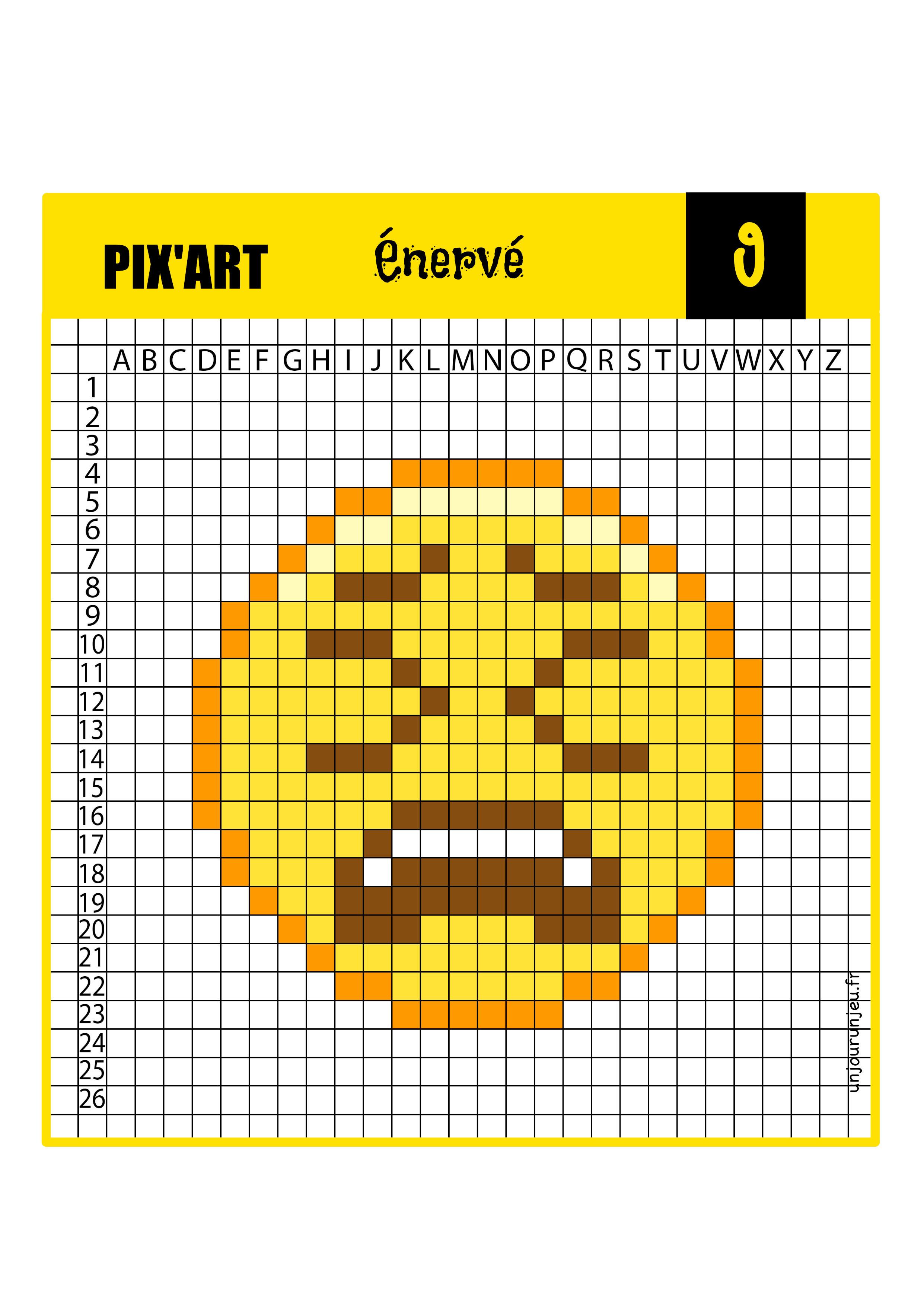 Pixel art smiley énervé