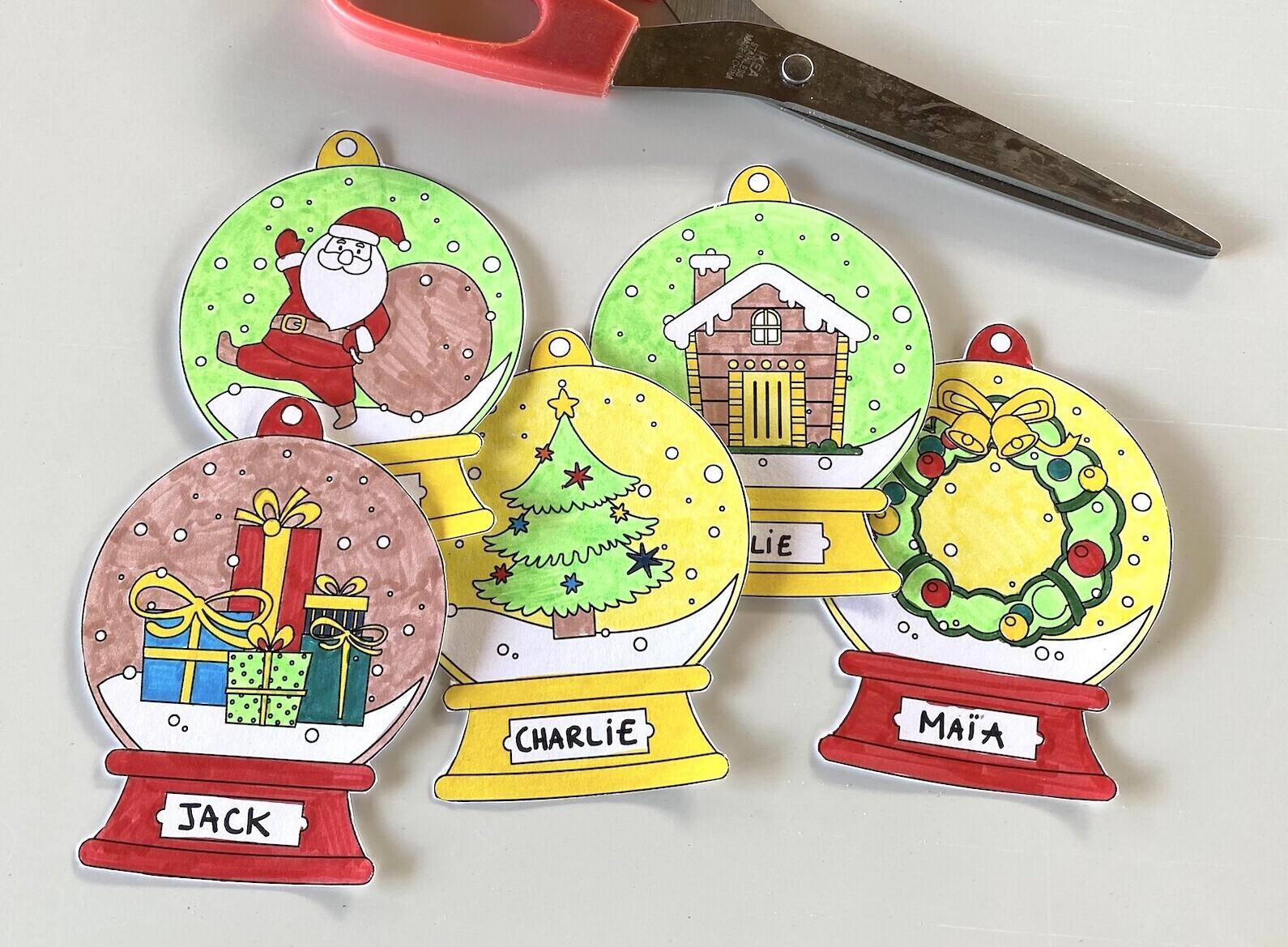 Décorations de Noël à colorier pour le sapin