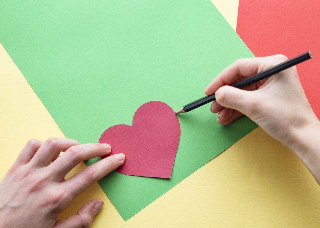 Carte cœur relief - étape 1