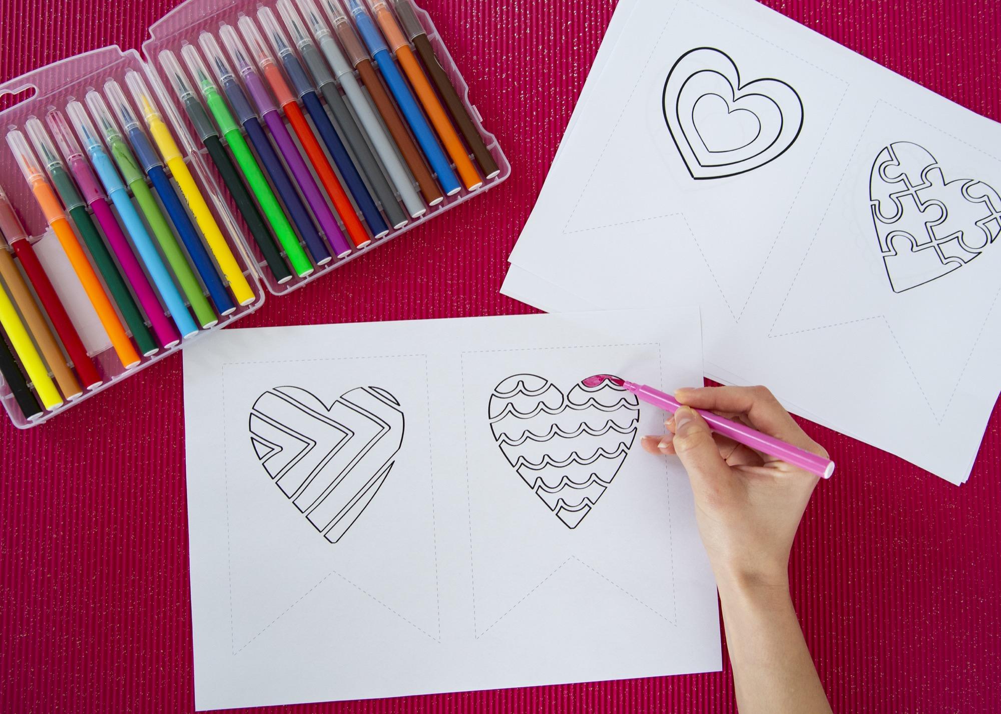 Banderole de la Saint Valentin - étape 1