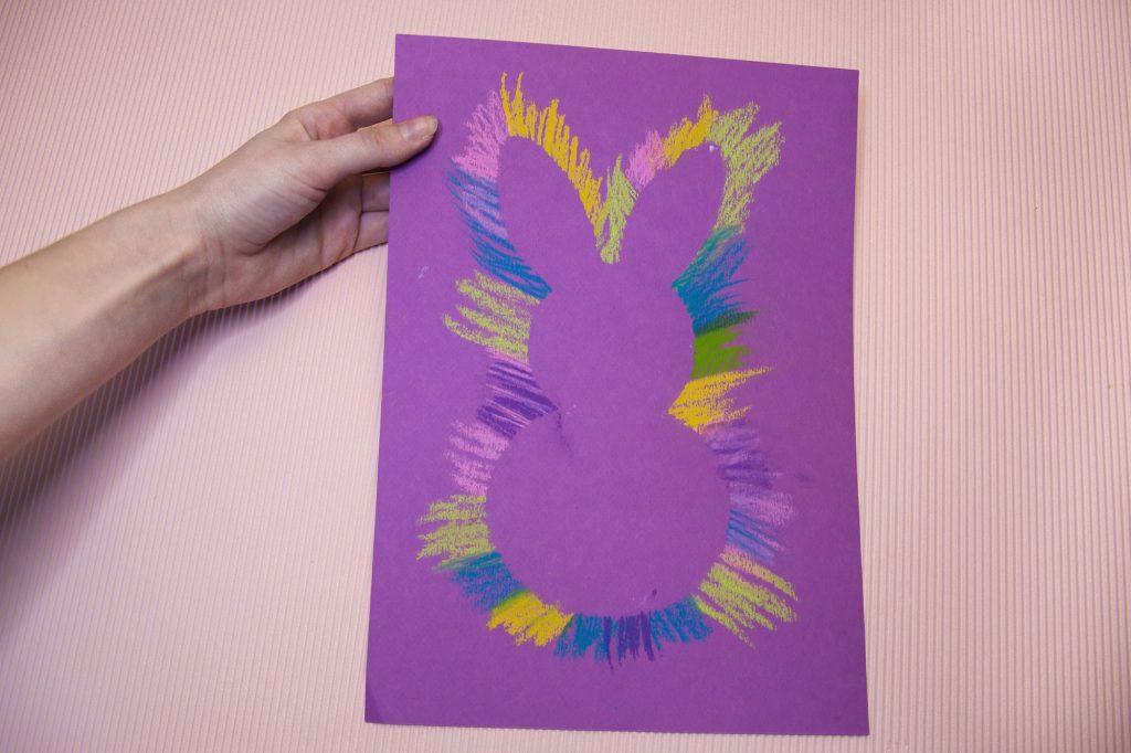 Résultat lapin de Pâques à la craie