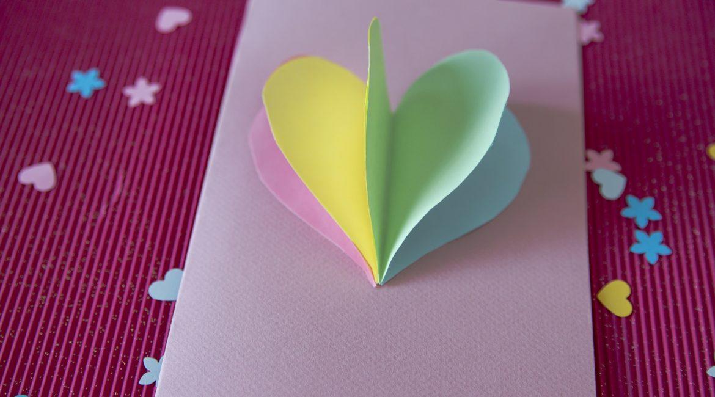 Carte cœur 3D fête des mères