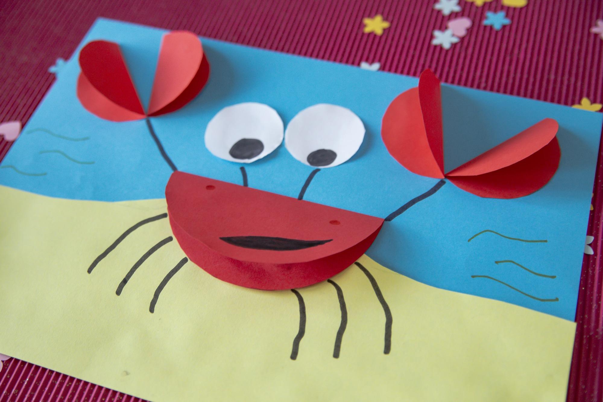Bricolage de la mer : mon crabe trop rigolo