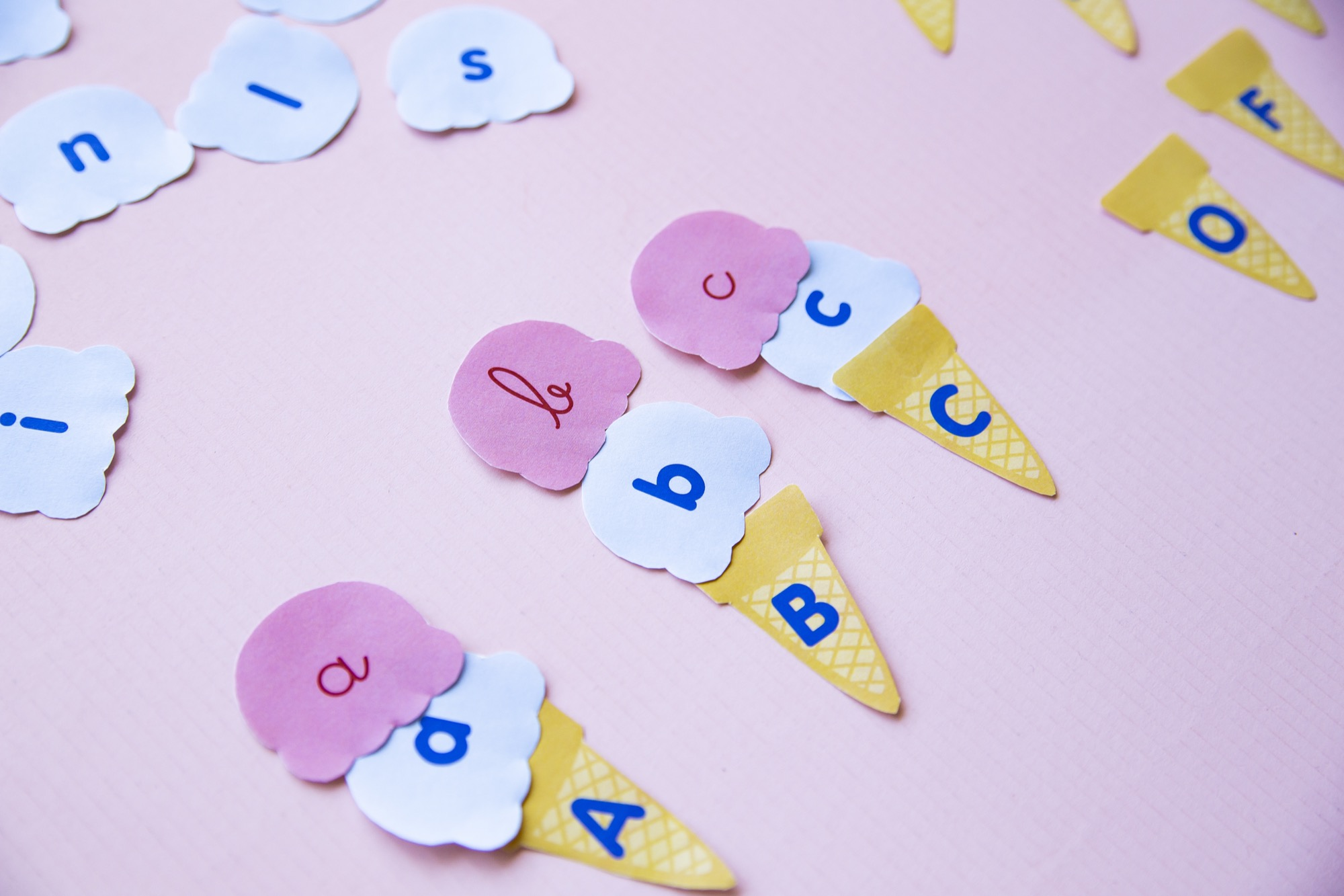 Correspondance alphabet glaces - étape 5