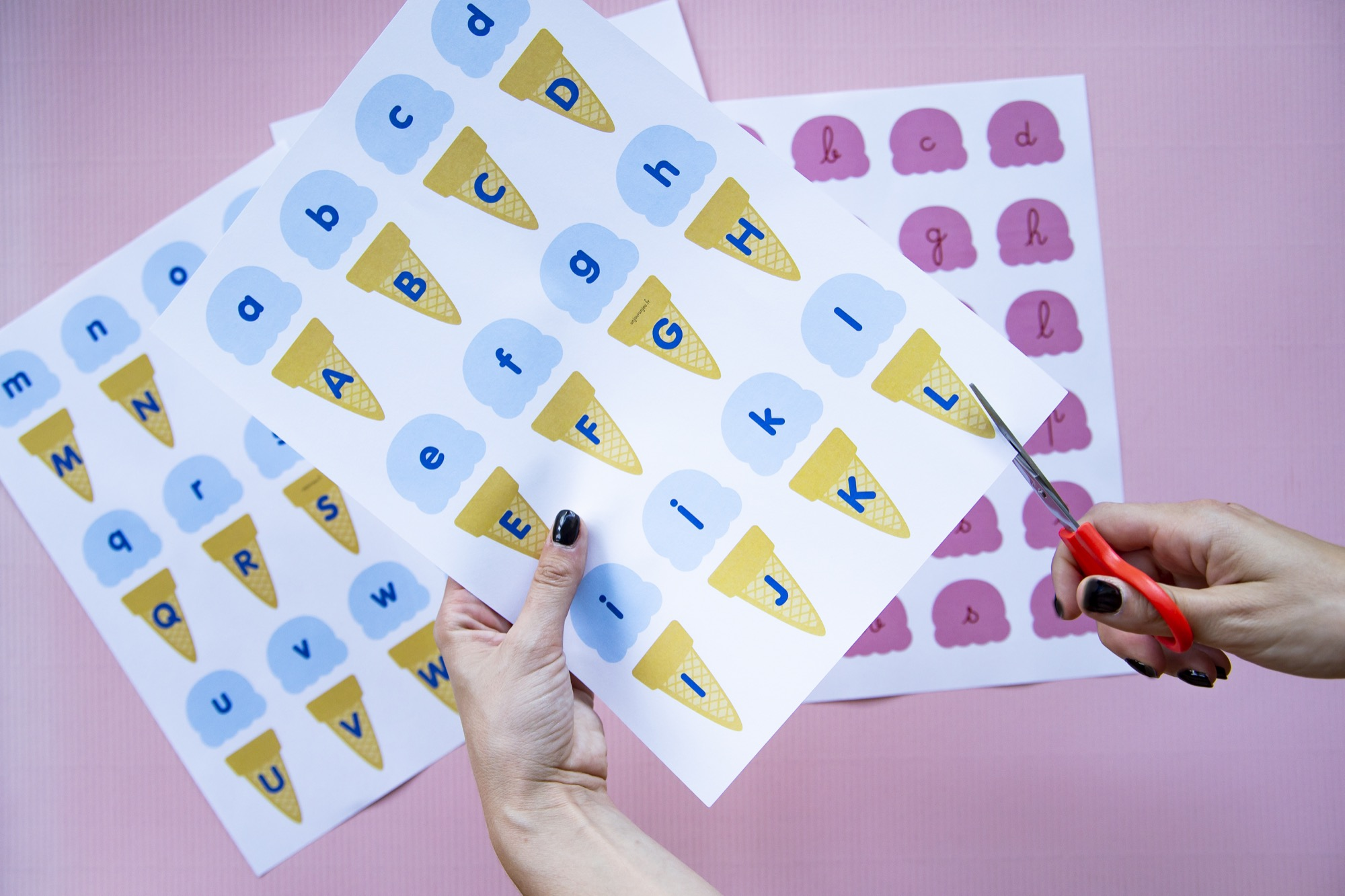 Correspondance alphabet glaces - étape 2