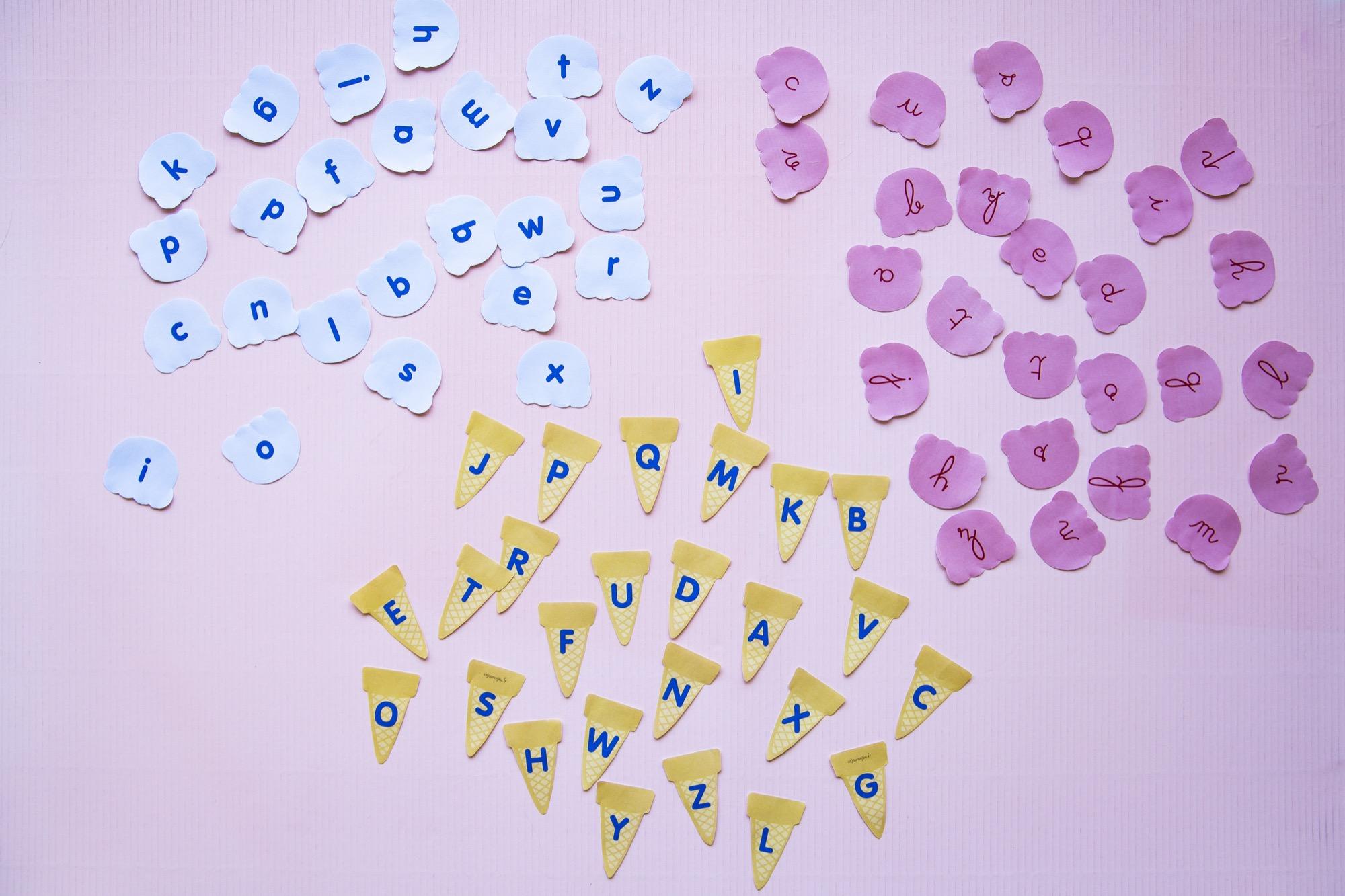 Correspondance alphabet glaces - étape 3