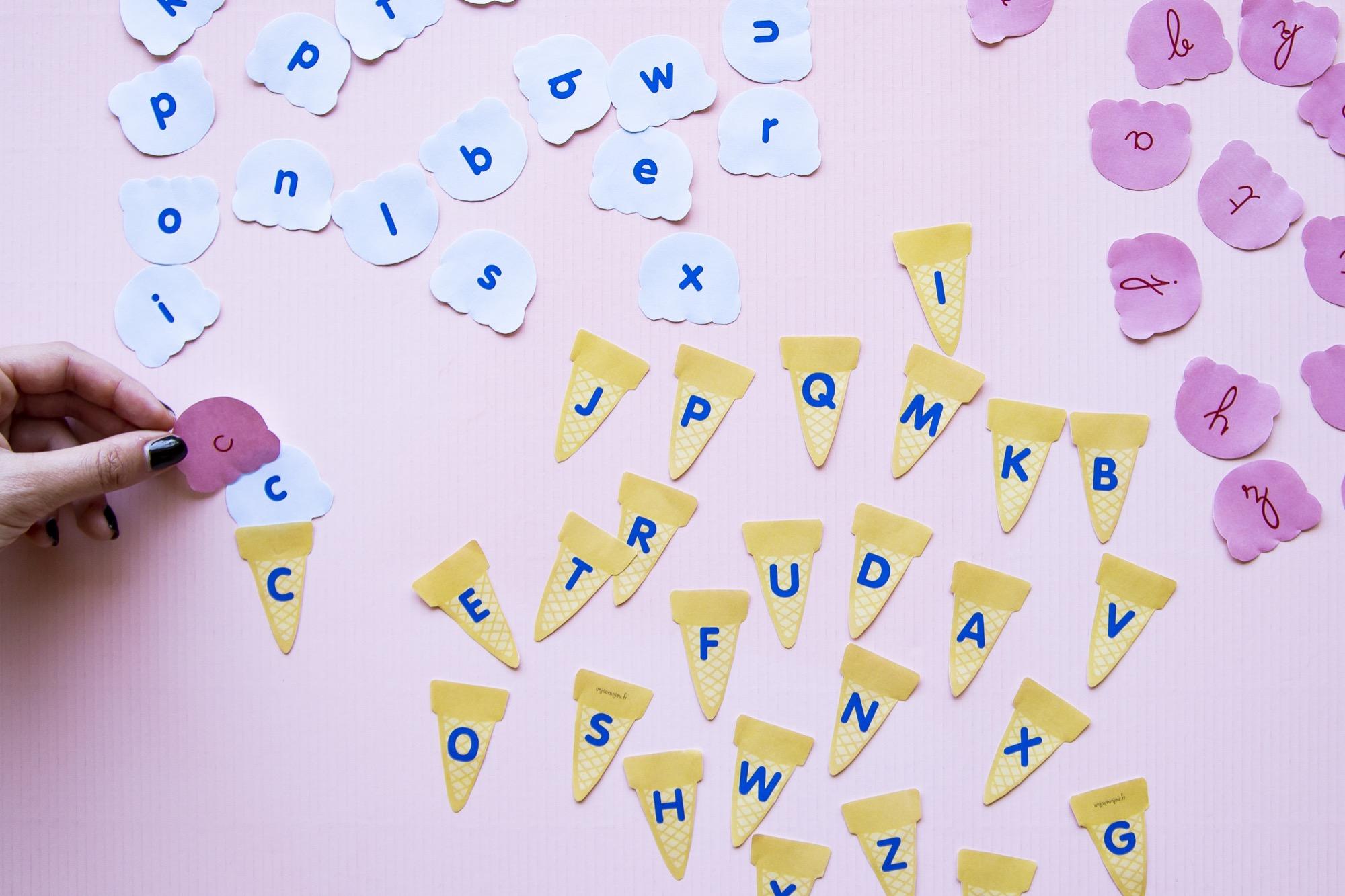 Correspondance alphabet glaces - étape 4